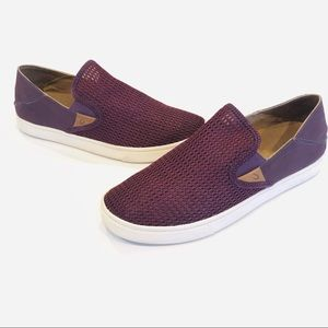 OLUKAI Pehuea Wine Perforated Slip On Sneakers 10